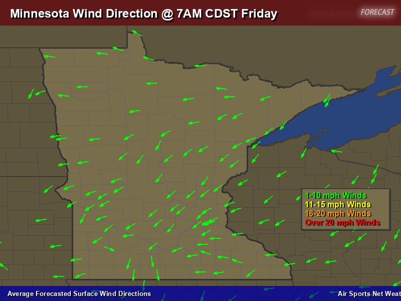 Minnesota Wind Direction Forecast Map