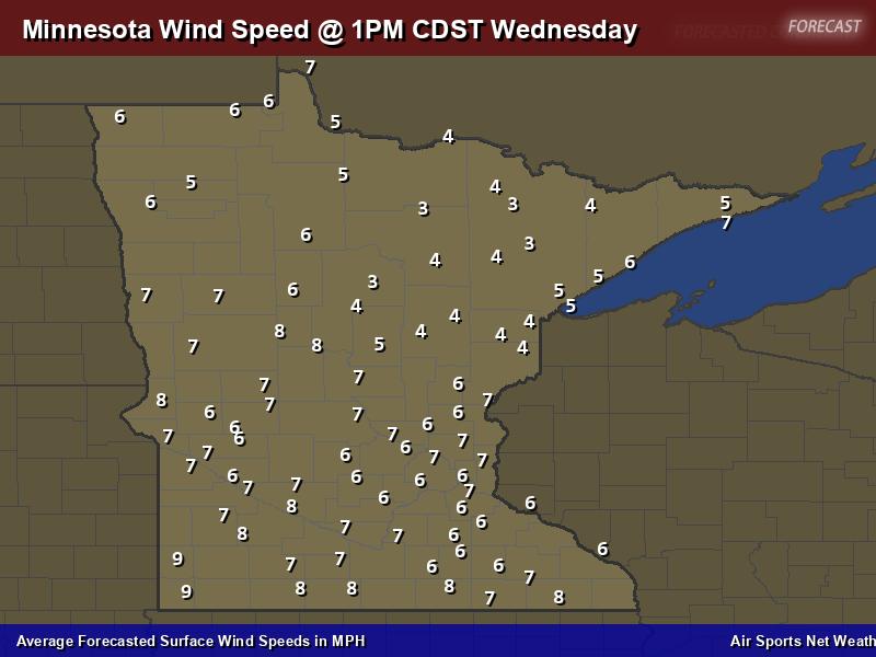 Minnesota Wind Speed Forecast Map