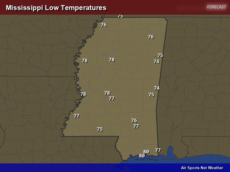Mississippi Low Temperatures Map