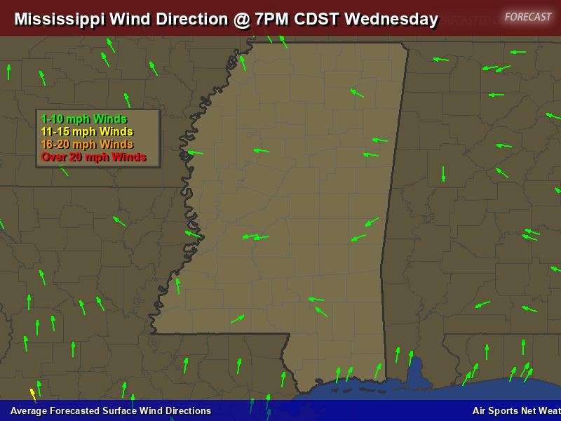 Mississippi Wind Direction Forecast Map