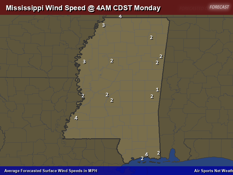 Mississippi Wind Speed Forecast Map