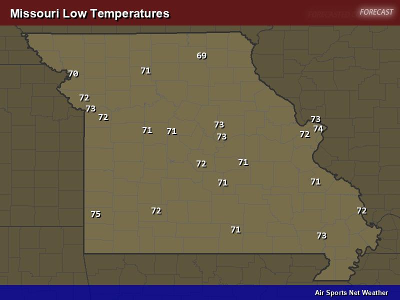Missouri Low Temperatures Map