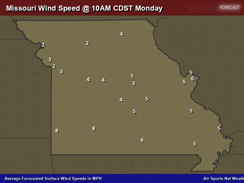 Missouri Wind Speed Forecast Map