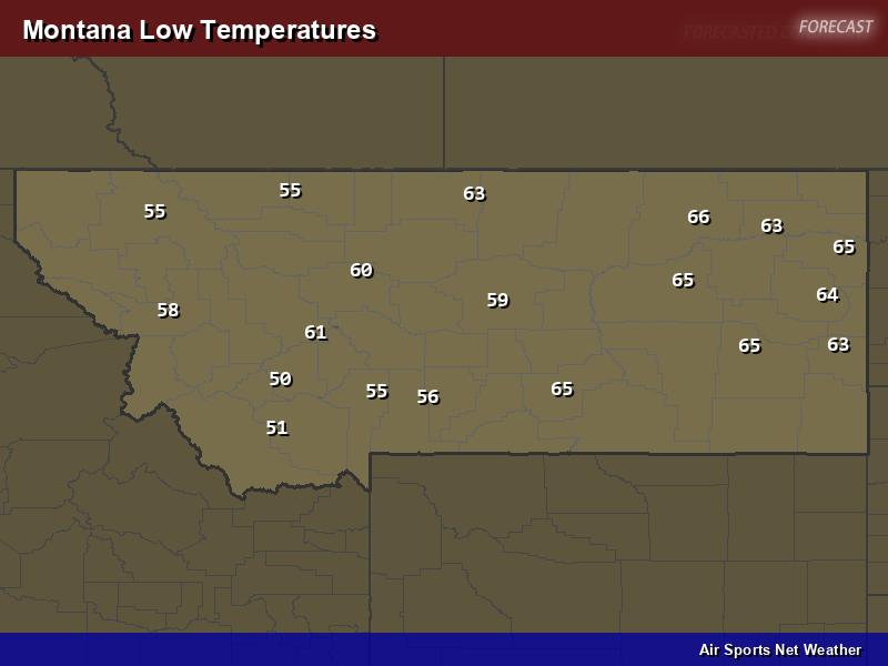 Montana Low Temperatures Map
