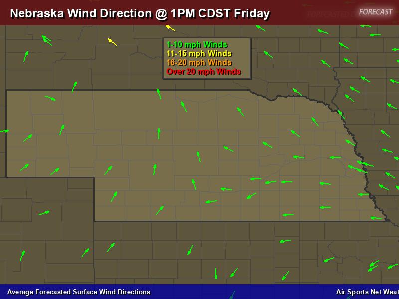 Nebraska Wind Direction Forecast Map