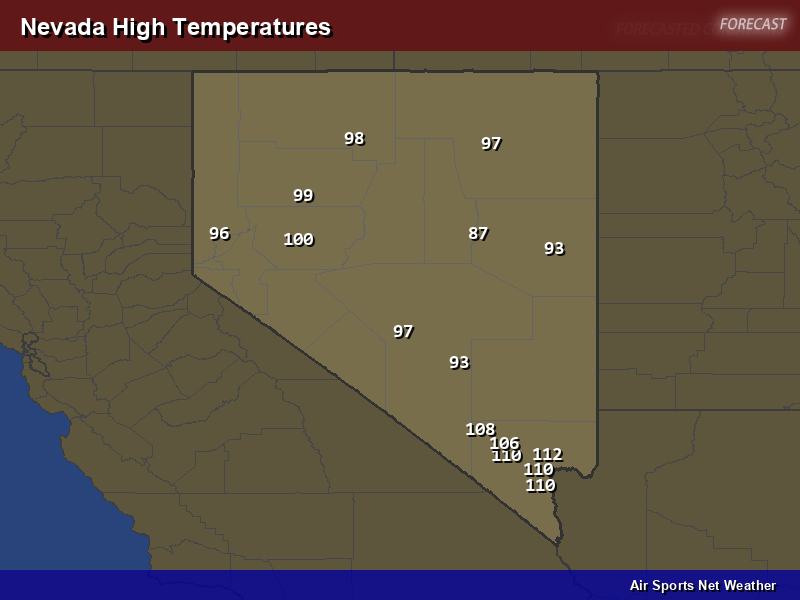 Nevada High Temperatures Map