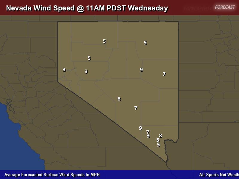 Nevada Wind Speed Forecast Map