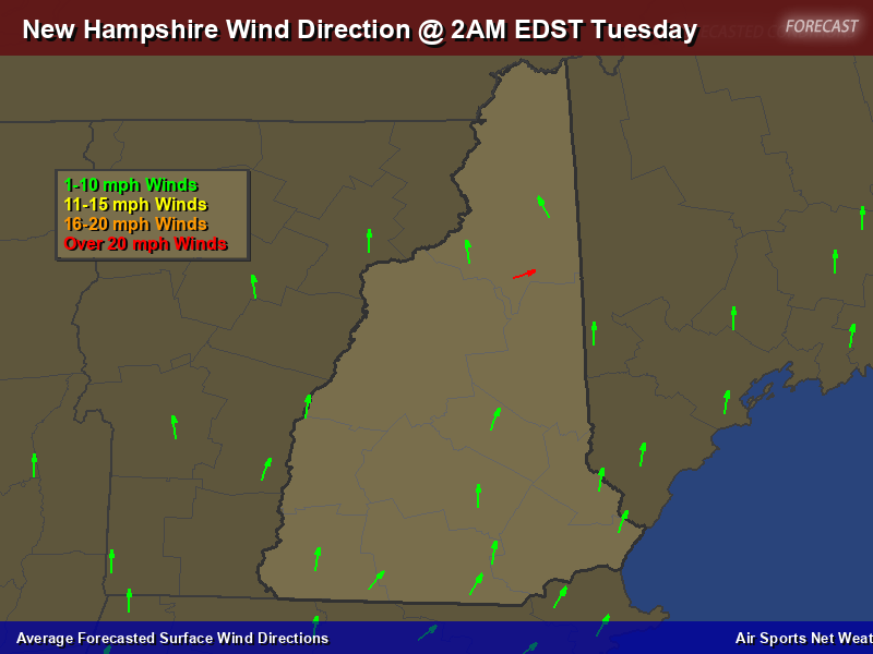 New Hampshire Wind Direction Forecast Map