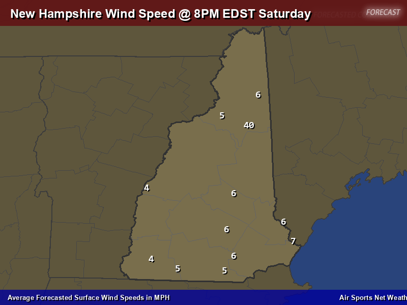 New Hampshire Wind Speed Forecast Map
