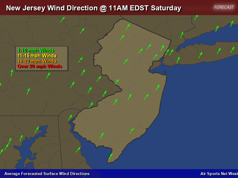 New Jersey Wind Direction Forecast Map