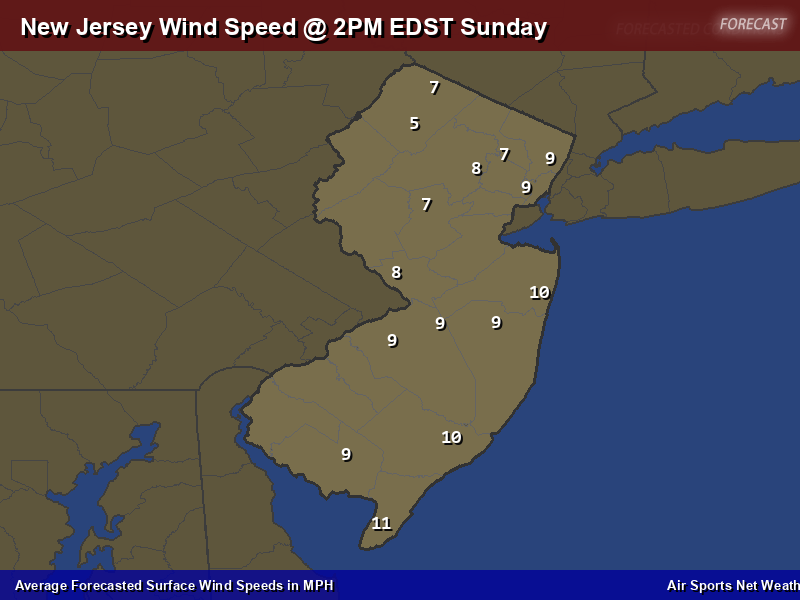 New Jersey Wind Speed Forecast Map
