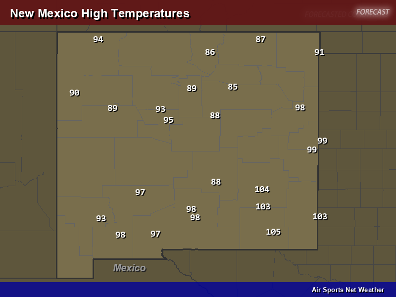 New Mexico High Temperatures Map