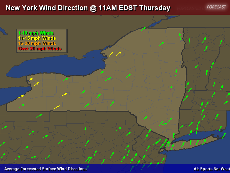 New York Wind Direction Forecast Map