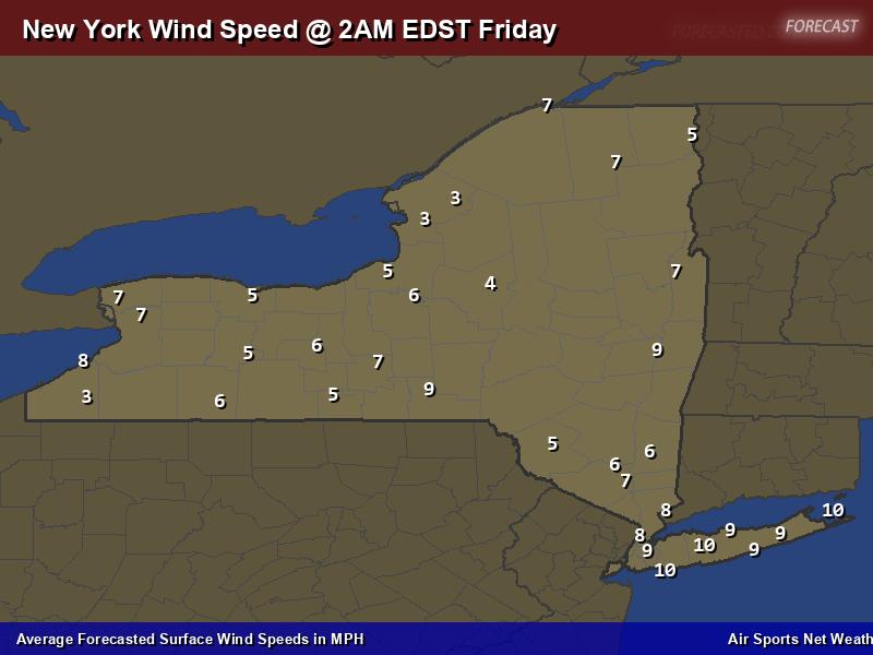 New York Wind Speed Forecast Map