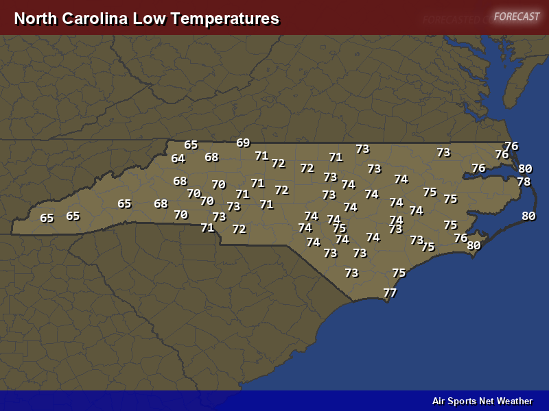 North Carolina Low Temperatures Map