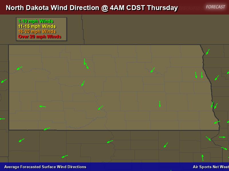 North Dakota Wind Direction Forecast Map