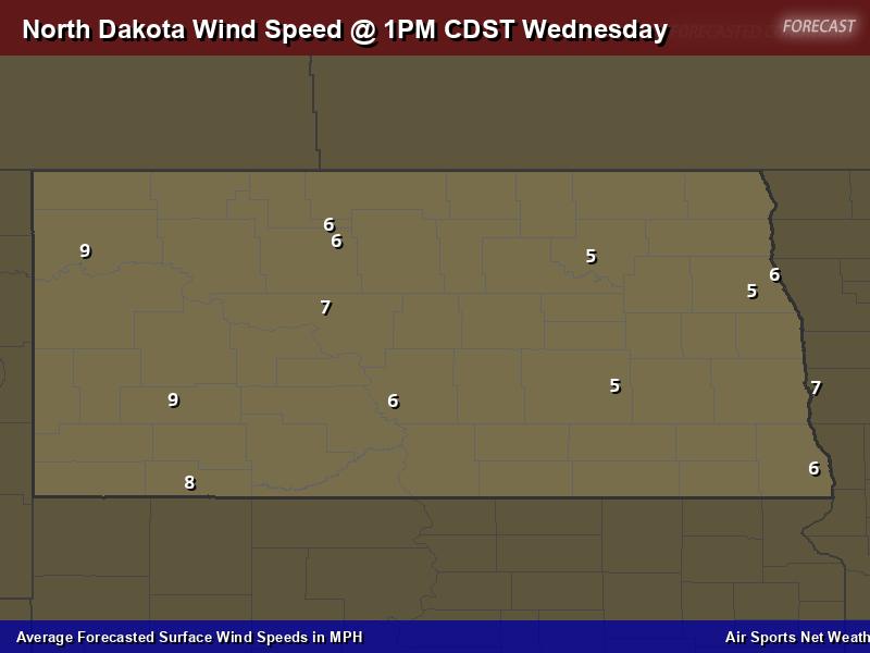 North Dakota Wind Speed Forecast Map