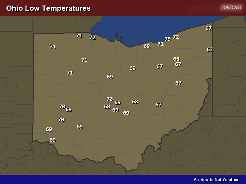 Ohio Low Temperatures Map