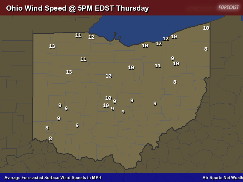 Ohio Wind Speed Forecast Map