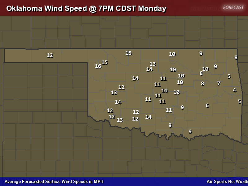 Oklahoma Wind Speed Forecast Map