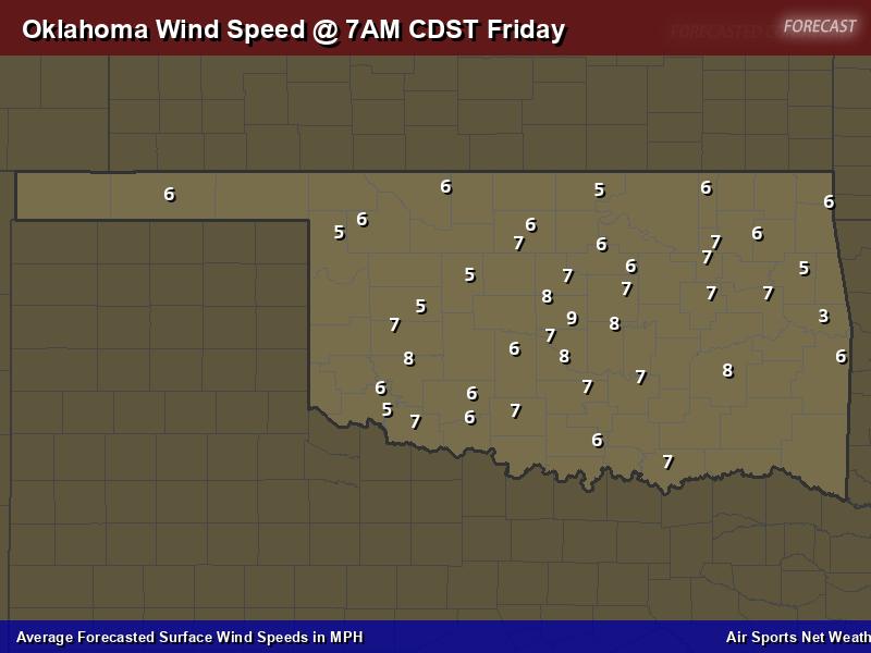 Oklahoma Wind Speed Forecast Map