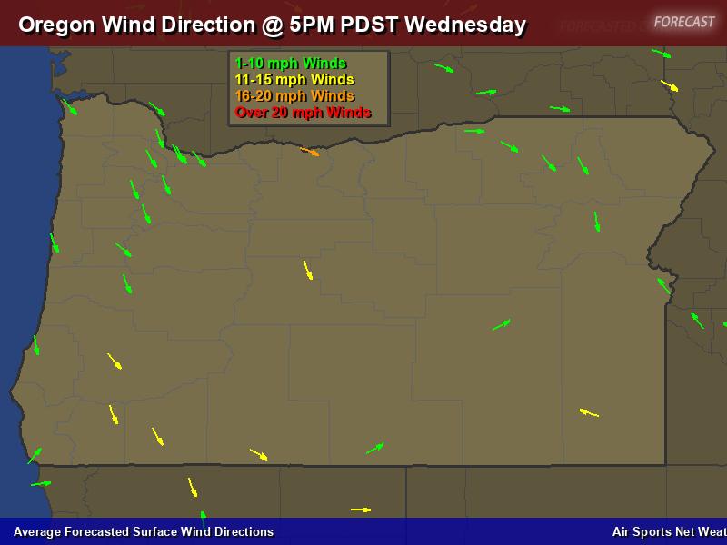 Oregon Wind Direction Forecast Map