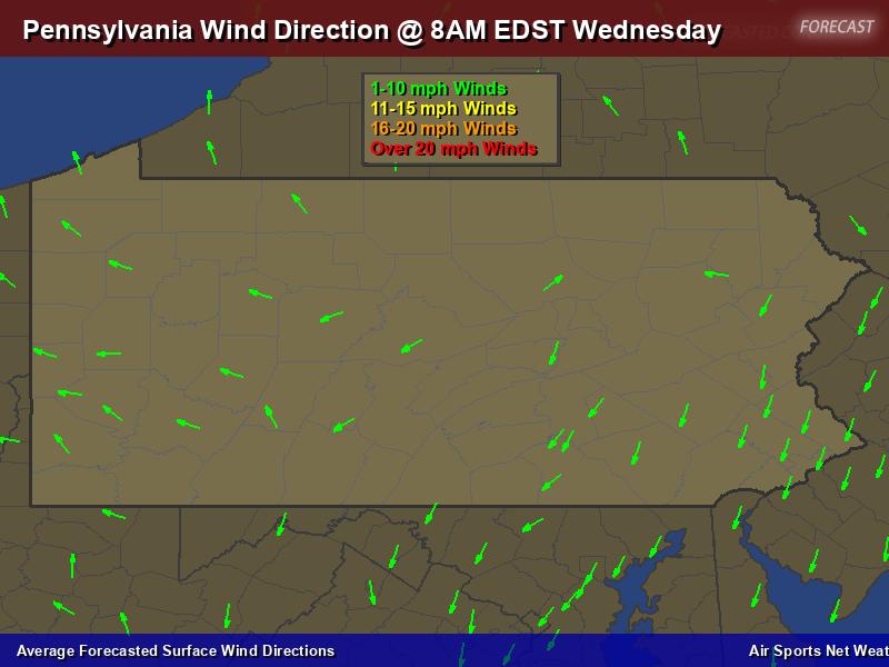 Pennsylvania Wind Direction Forecast Map
