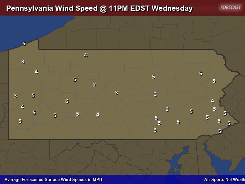 Pennsylvania Wind Speed Forecast Map