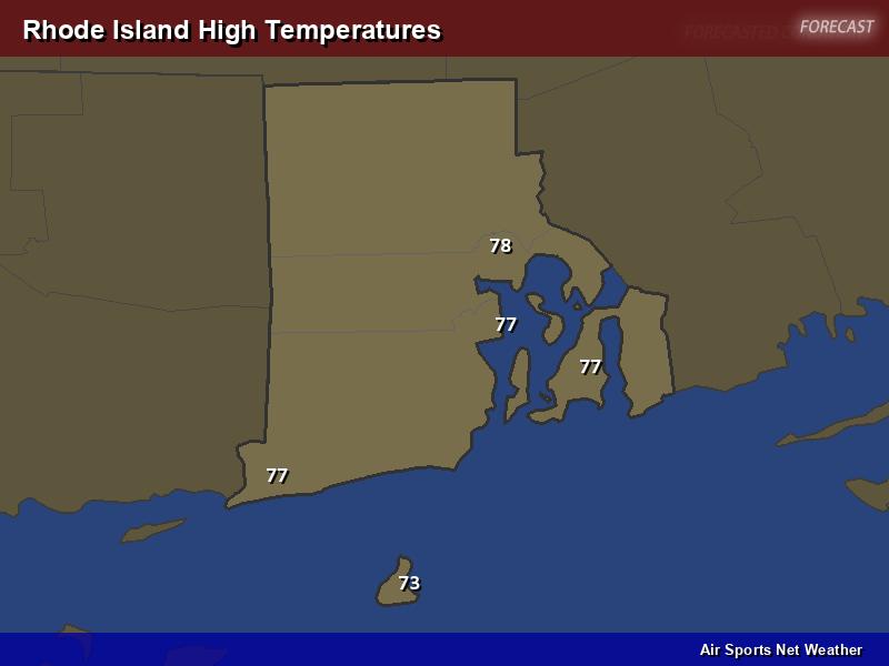 Rhode Island High Temperatures Map