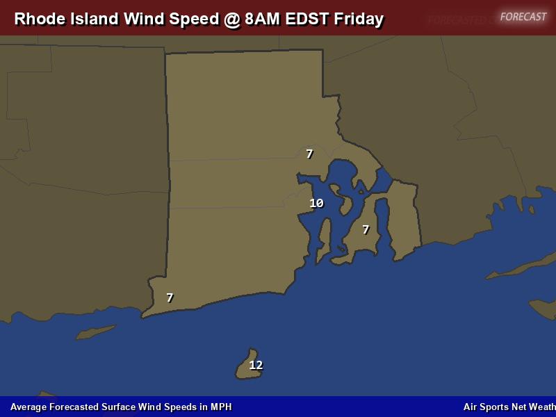 Rhode Island Wind Speed Forecast Map