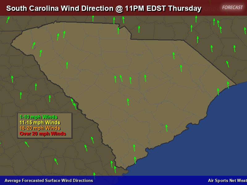 South Carolina Wind Direction Forecast Map