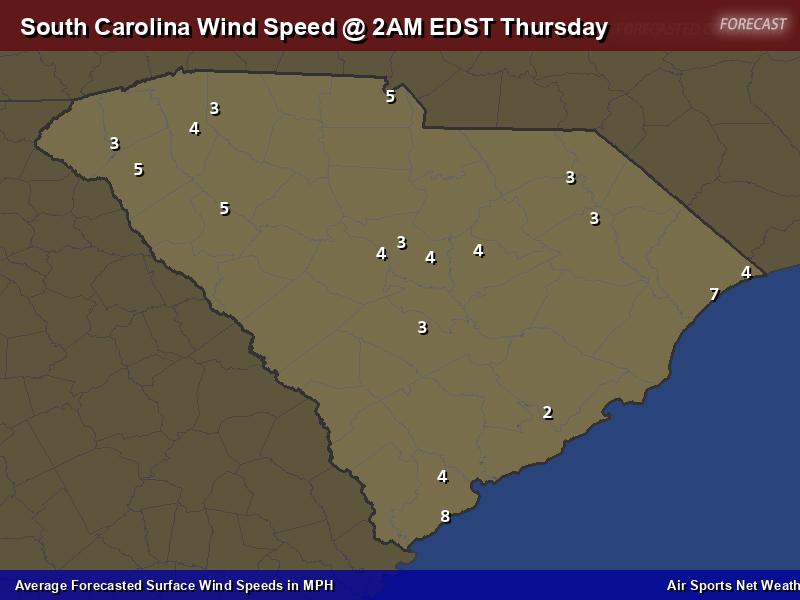 South Carolina Wind Speed Forecast Map