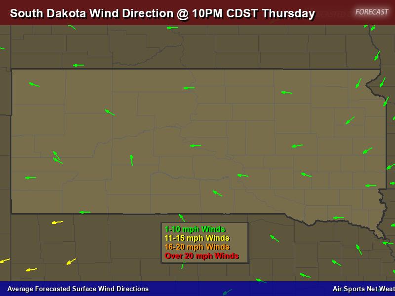 South Dakota Wind Direction Forecast Map