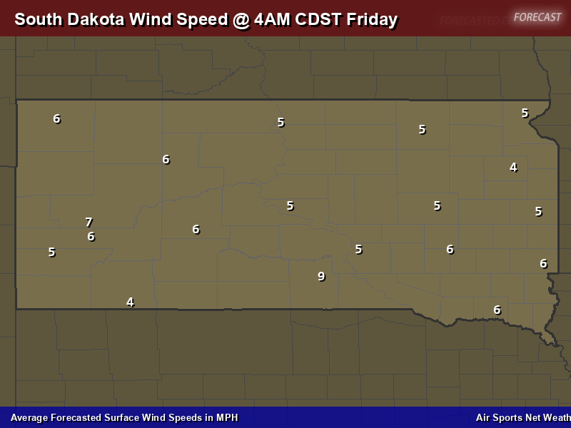 South Dakota Wind Speed Forecast Map