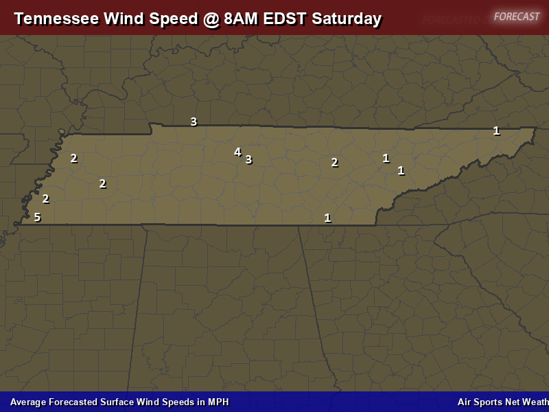 Tennessee Wind Speed Forecast Map