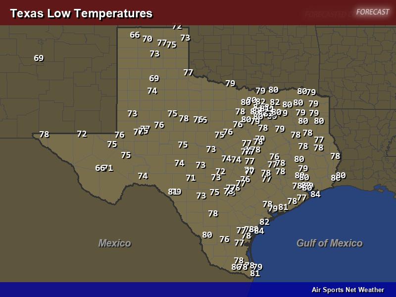 Texas Low Temperatures Map