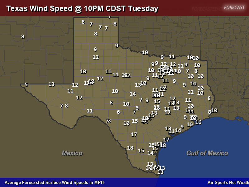 Texas Wind Speed Forecast Map