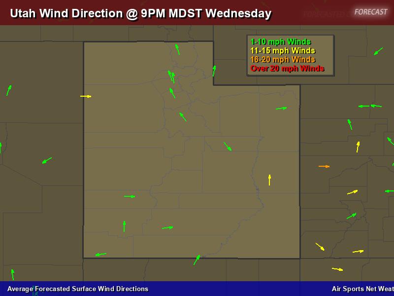 Utah Wind Direction Forecast Map