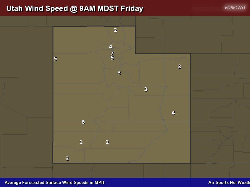 Utah Wind Speed Forecast Map