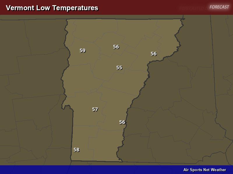 Vermont Low Temperatures Map