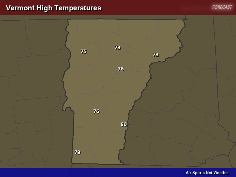 Vermont High Temperatures Map