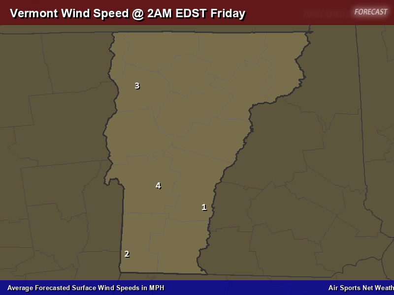 Vermont Wind Speed Forecast Map