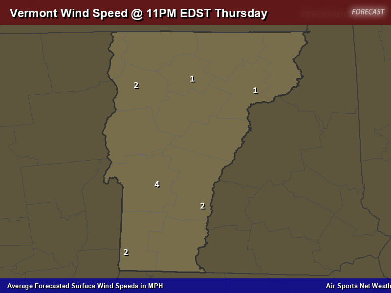 Vermont Wind Speed Forecast Map