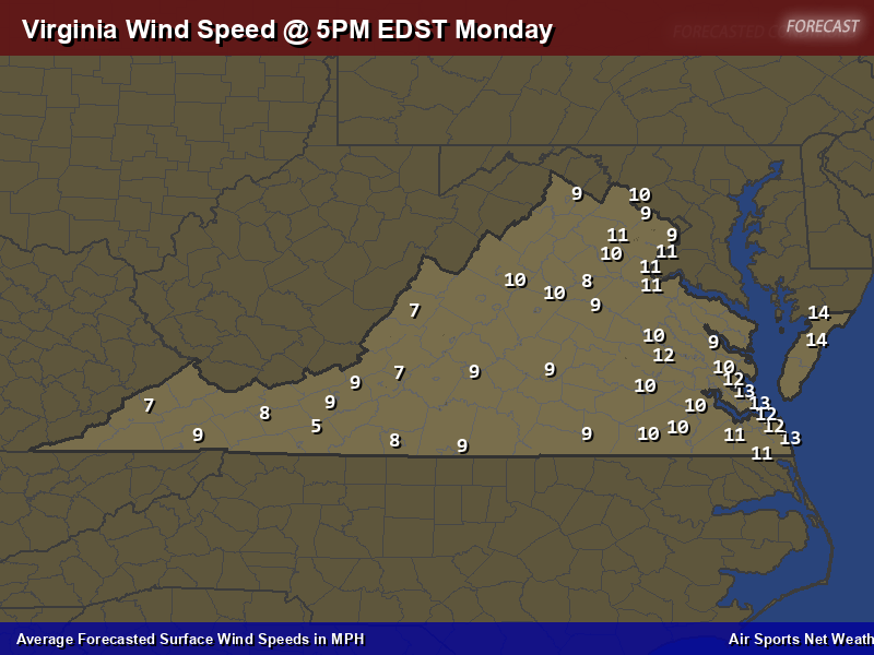 Virginia Wind Speed Forecast Map