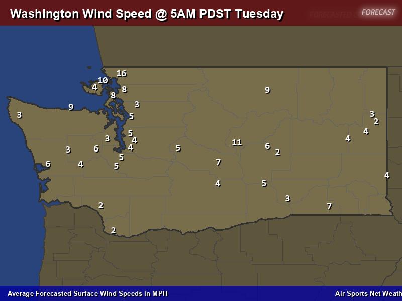 Washington Wind Speed Forecast Map