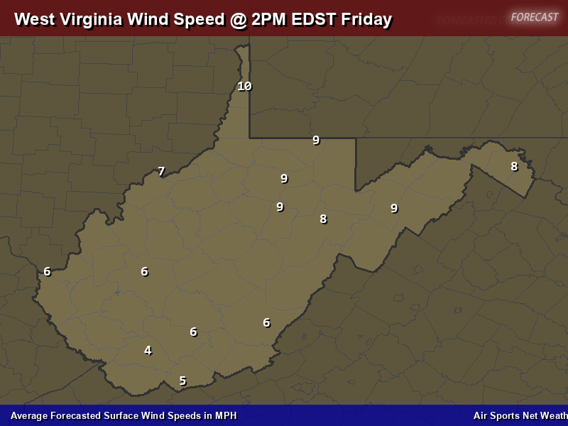 West Virginia Wind Speed Forecast Map