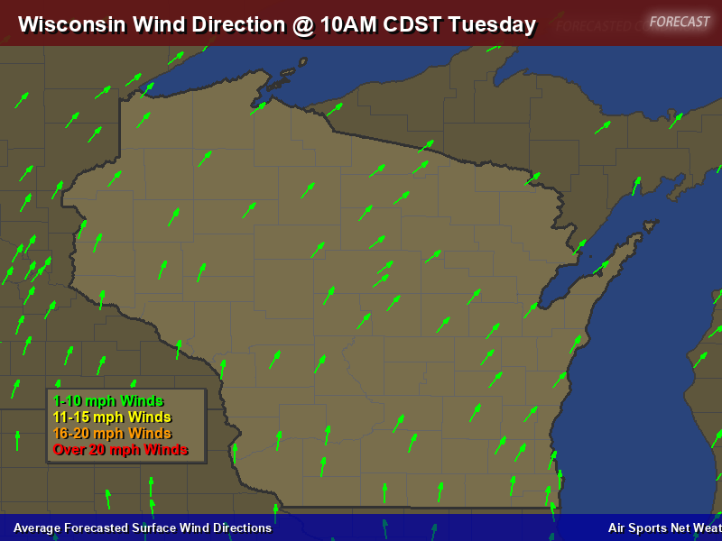 Wisconsin Wind Direction Forecast Map