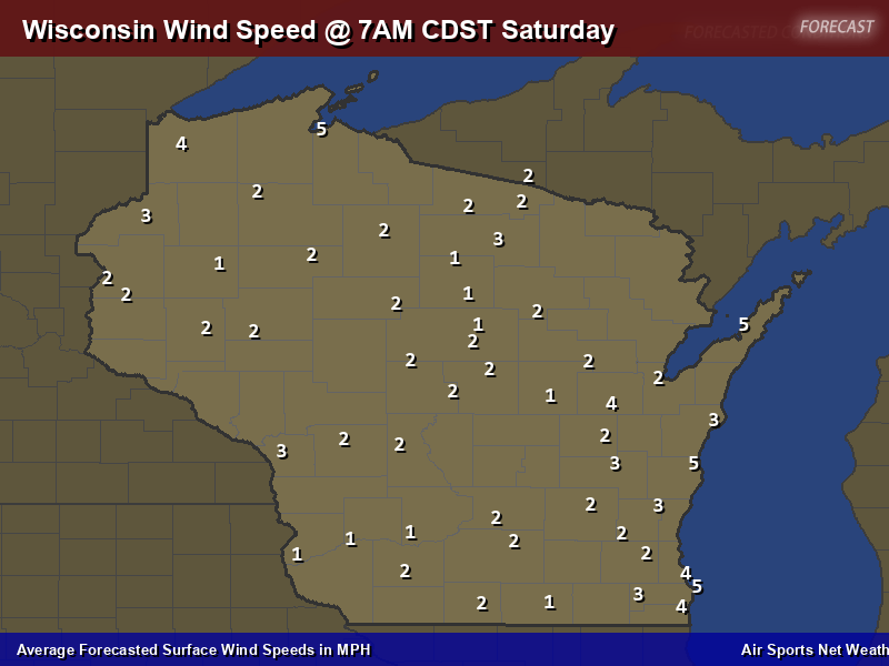 Wisconsin Wind Speed Forecast Map