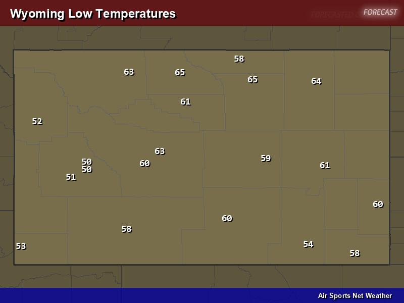 Wyoming Low Temperatures Map