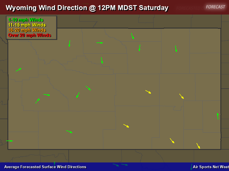 Wyoming Wind Direction Forecast Map